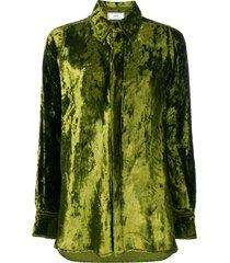 ami long velvet shirt - green