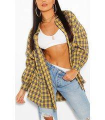 oversized geruite blouse, mosterd