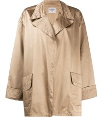 chanel pre-owned 1980's loose robe style jacket - brown