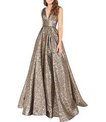 mac duggal women's metallic ballgown - black - size 0