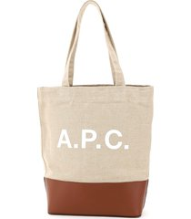 a.p.c. axelle canvas tote bag logo