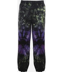aries cotton trousers with all-over tie-dye pattern