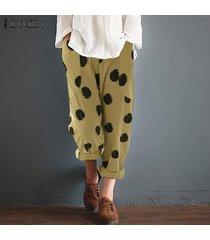 zanzea mujeres encuadre de cuerpo entero de lunares pantalones oficina de trabajo de mujeres de talla pantalones -amarillo
