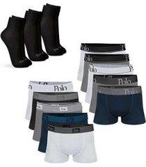 kit com 10 cuecas cotton premium e 3 pares de meias cano médio - polo match masculino - masculino