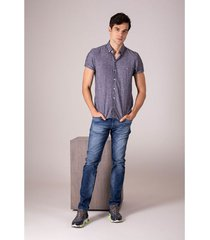 camisa manga corta para hombre lino y algodón