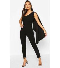 one shoulder drape detail jumpsuit, black