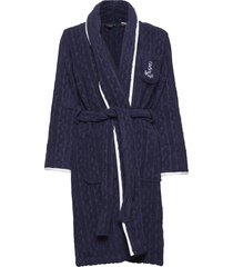 lrl cable terry shawl collar robe morgonrock blå lauren ralph lauren homewear