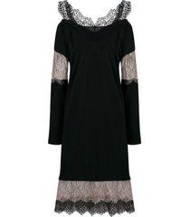 blumarine lace insert jumper dress - black