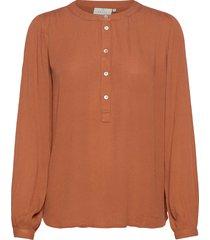 karla amber shirt ls- min 2 blus långärmad brun kaffe