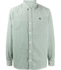 carhartt wip logo-embroidered corduroy shirt - green