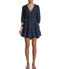 allison new york women's embroidered tiered dress - navy - size xs