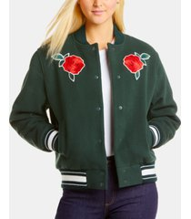lacoste live embroidered roses bomber jacket