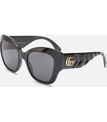 gucci women's cat eye sunglasses - black/grey