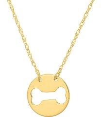saks fifth avenue women's so you 14k yellow gold cutout bone mini disk necklace