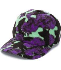 msgm floral fleece baseball cap - purple
