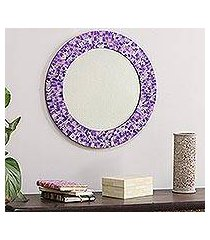 glass mosaic wall mirror, 'purple caprice' (india)