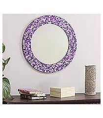 glass mosaic wall mirror, 'purple caprice' (india)