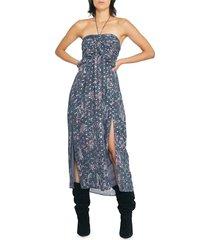 iro women's somov paisley lurex jacquard halter midi dress - blue - size 34 (2)