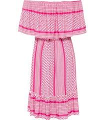 carmen jurk met tweekleurig patroon