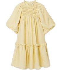 geneva smocked ruffled ramie mini dress
