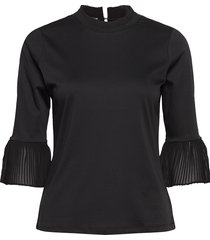 3/4 sleeve tee with pleated details blouse lange mouwen zwart scotch & soda