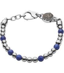 diesel men's beaded two-tone semi-precious bracelet