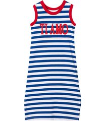 alberta ferretti white dress with blue striped