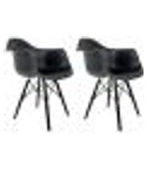 conjunto com 2 cadeiras eames em madeira e pp pretas com braço