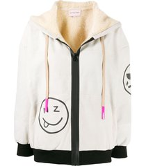 natasha zinko smiles print zip-up hoodie - neutrals