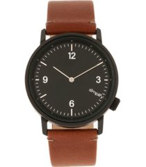 simplify quartz the 5500 black dial, genuine brown leather watch 41mm
