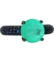 anel infine com pedra turmalina fusion premium cravejado zircônia tanzanita