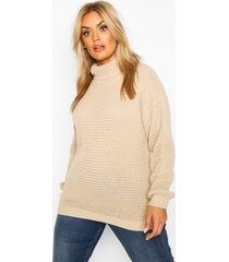 plus roll neck waffle knitted sweater, stone