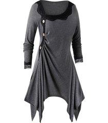 plus size lace panel skew collar asymmetrical tunic tee