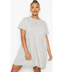 plus basic smock dress, grey marl
