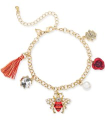 thalia sodi gold-tone multi-charm anklet, created for macy's