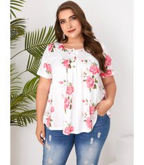 botón de talla grande diseño camiseta con estampado floral cuello camiseta de manga corta