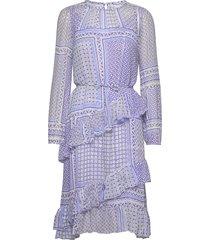 helia dress knälång klänning blå by malina