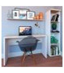 conjunto de mesa com estante e prateleira de escritório corp branco e geneve