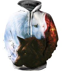 felpa con cappuccio stampa 3d lupo