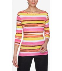 ruby rd. women's misses knit painterly top