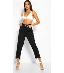 versleten mom jeans met gerafelde zoom en hoge taille, zwart