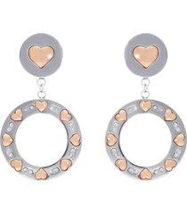 orecchini pendenti in acciaio e strass con cuori oro rosa per donna