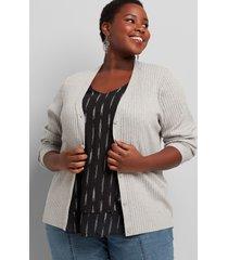 lane bryant women's ribbed v-neck button-front cardigan 10/12 medium heather grey