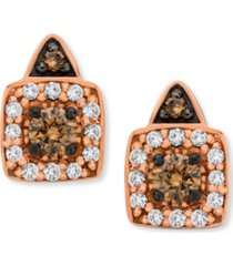 chocolate by petite le vian chocolate and white diamond stud earrings (1/3 ct. t.w.) in 14k rose, yellow or white gold