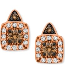 chocolate by petite le vian chocolate and white diamond stud earrings in 14k rose gold (1/3 ct. t.w.)