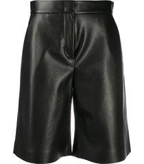 msgm faux leather knee-length shorts - black