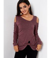 burgundy cold shoulder long sleeves knot hem t-shirt