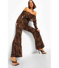 animal devore off the shoulder jumpsuit, black