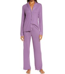 women's nordstrom brushed hacci pajamas, size small - purple