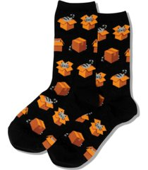 hot sox women's cats in boxes fashion crew socks